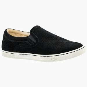**UGG**  Suede Perforated Slip On Sneakers